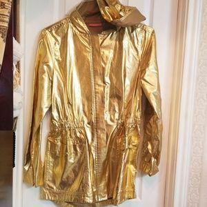Gold raincoat Isac Mizrahi size small